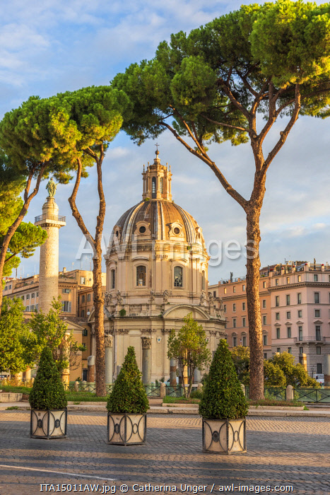Europe, Italy, Rome. The Trajan's column and the nearby church.