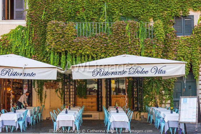 Europe, Italy, Rome. A restaurant on the piazza Navona prepares for the guests of the day.