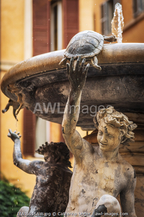 Europe, Italy, Rome. The turtle fountain.