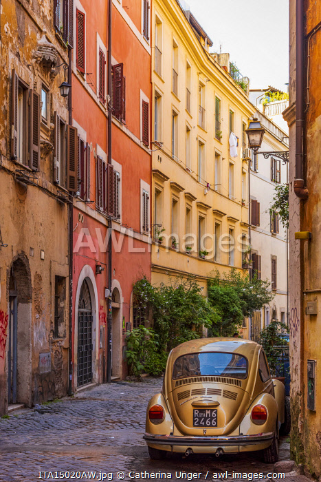 Europe, Italy, Rome. A street in Trastevere with the typical facades.