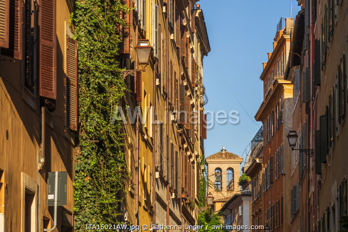 Europe, Italy, Rome. A street of houses in the historic centre.