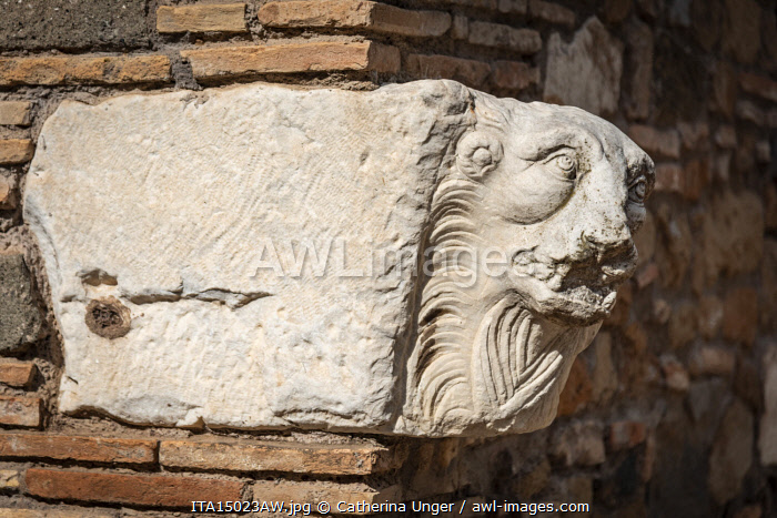 Europe, Italy, Rome. Via Appia Antica. An ancient roman sculpture in the Capo di Bove archeological site.