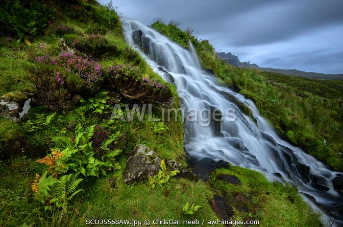 Europe, United Kingdom, Scotland, highlands, Isle of Skye, waterfall and old man of storr