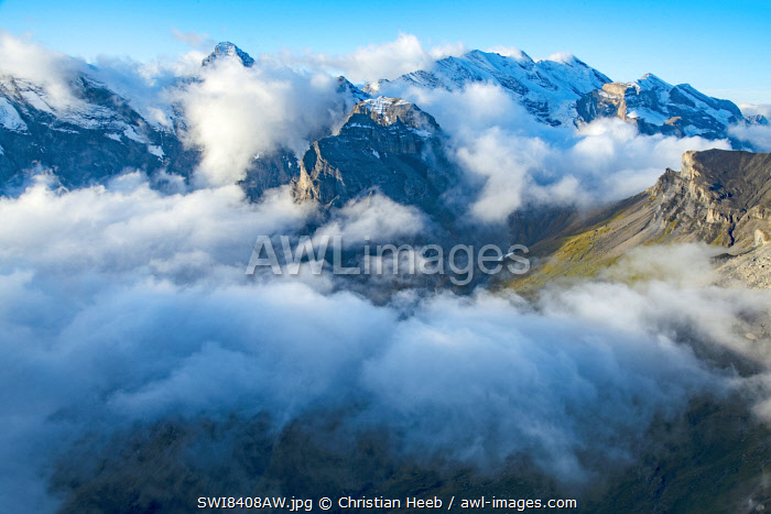 Switzerland, Swiss Alps, Bernese Alps, view from Schilthorn