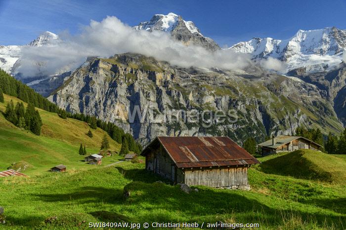 Switzerland, Bernese Alps, Jungfrau from Almendubel near Muerren