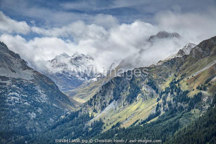 Switzerland, Swiss Alps, Graubuenden, Val Bregaglia seen from Maloja pass