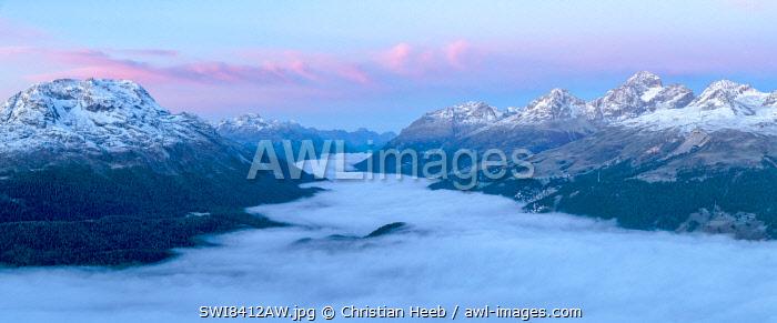 Switzerland, Swiss Alps, Graubuenden, Engadine, view from Muottas Muragl over St.Moritz