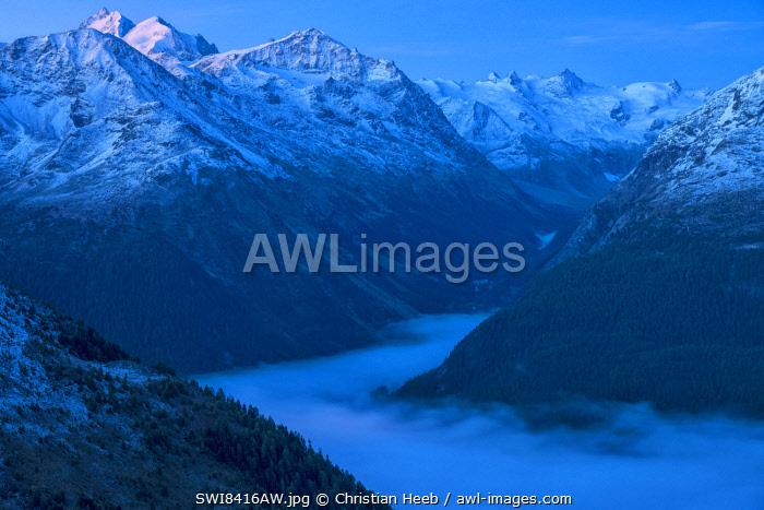 Switzerland, Swiss Alps, Graubuenden, Engadine, view from Muottas Muragl over Pontresina