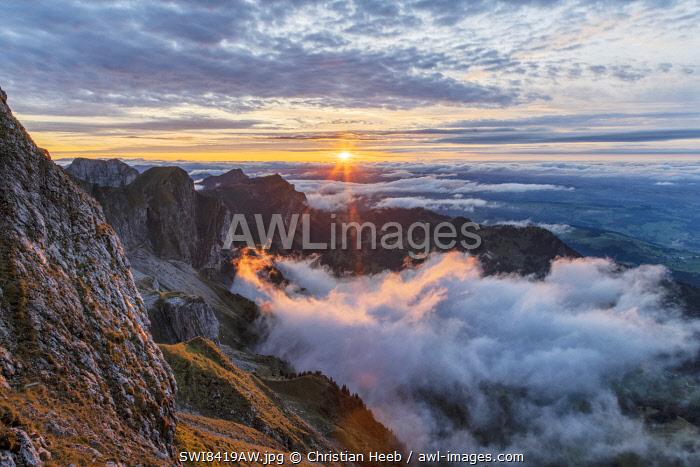 Switzerland, Lucerne, Mount Pilatus, sunset at Mount Pilatus
