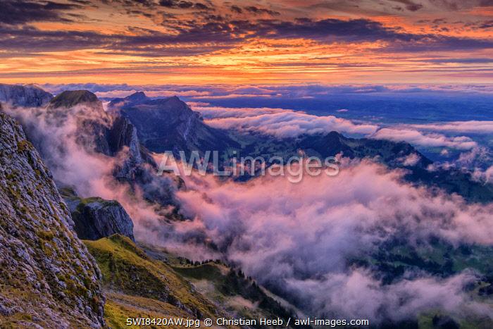 Switzerland, Lucerne, Mount Pilatus, sunset and clouds