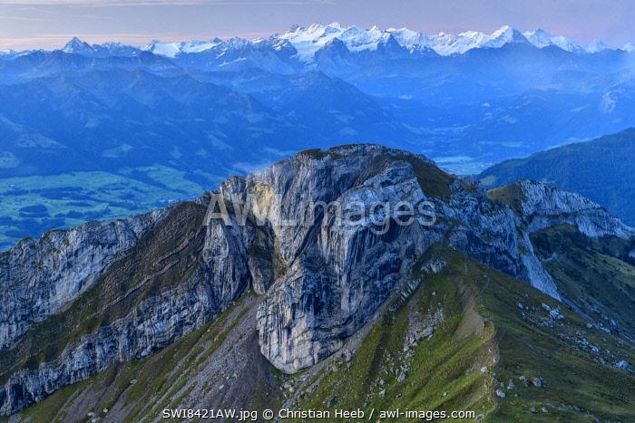 Switzerland, Lucerne, Mount Pilatus looking towards the Bernese Alps