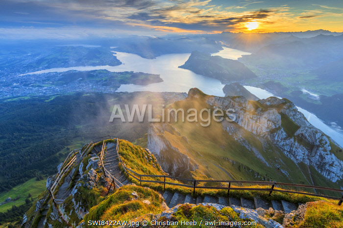 Switzerland, Lucerne, Mount Pilatus, sunrise