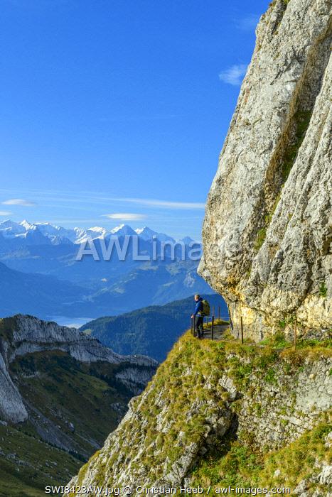 Switzerland, Lucerne, Mount Pilatus looking towards the Bernese Alps MR