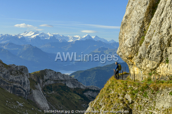 Switzerland, Lucerne, Mount Pilatus looking towards the Bernese Alps MR