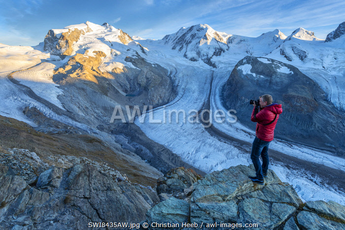 Europe; Switzerland; Valais; Zermatt; Monte Rosa and Gorner glacier with photographer