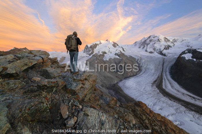 Switzerland, Valais, Gornergrat, Zermatt, Monte Rosa Dufourspitze and Gornergletscher