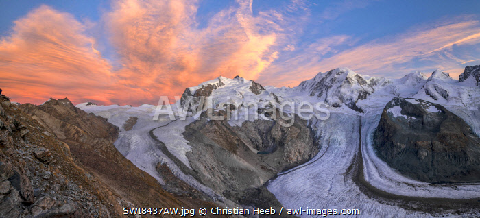 Switzerland, Valais, Gorner glacier and Monte Rosa on Gornergrat near Zermatt