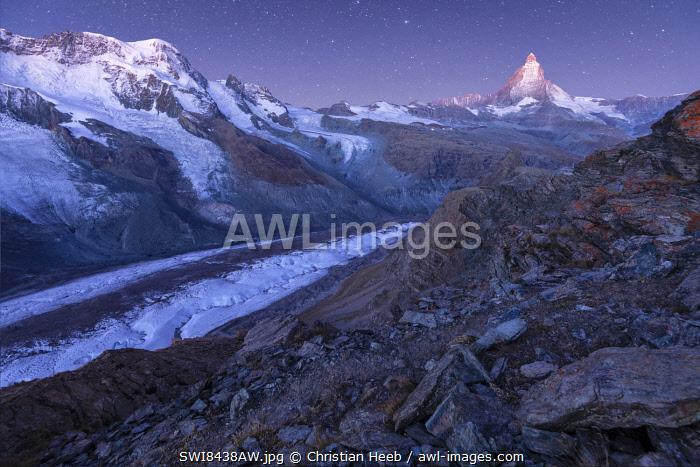 Switzerland, Valais, Swiss Alps, Zermatt, Matterhorn and Gorner glacier at dawn