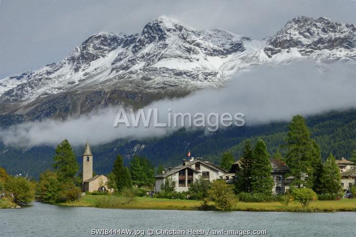 Switzerland, Swiss Alps, Graubuenden, Engadine, Sils Segl, with church  San Lurench