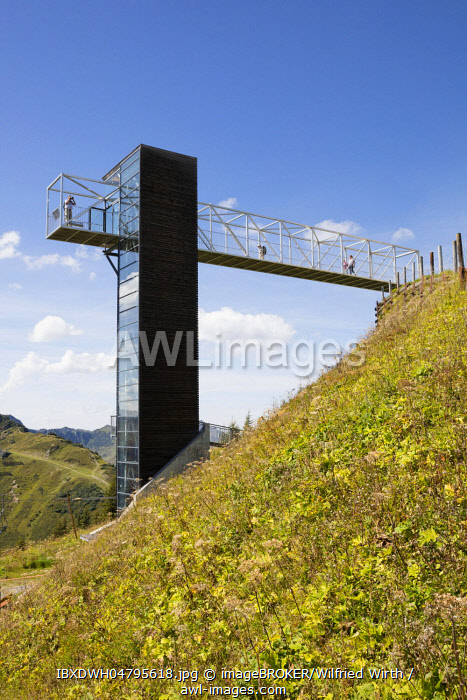 Viewing platform at the Walmendingerhorn, Kleinwalsertal, Allgaeuer Alps, Vorarlberg, Austria, Europe
