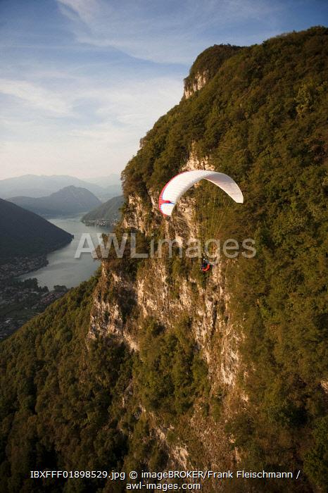 Aerial view, paraglider, Mendrisio, Lake Lugano, Ticino, Switzerland, Europe