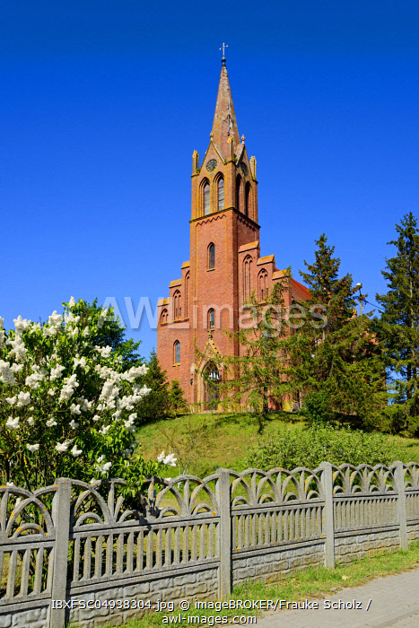 Church, Lubin, Swinedelta, Wollin Island, West Pomerania, Poland, Europe