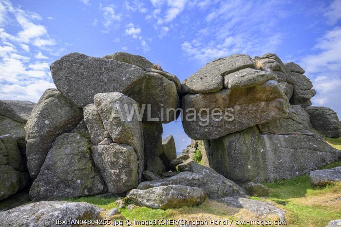 Rock windows at the Bonehill Rocks, Dartmoor NP, Widecombe-in-the-Moor, England, Great Britain