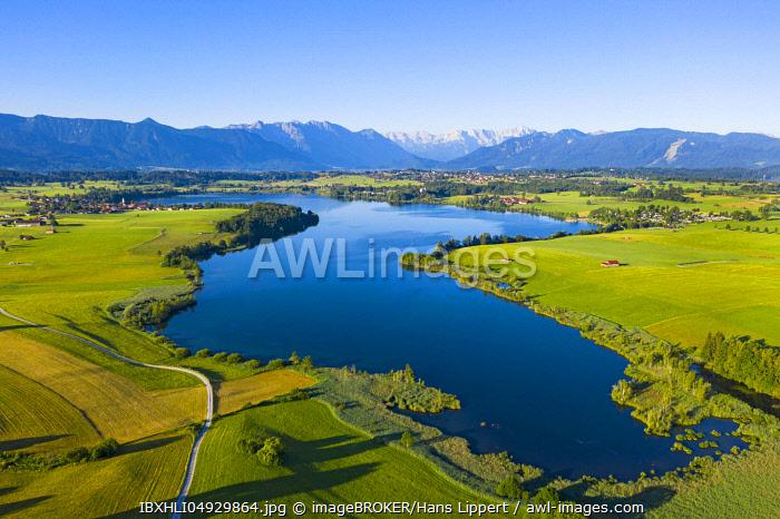 Lake Riegsee with Alpine Range, The Blue Land, Upper Bavaria, Bavaria, Germany, Europe