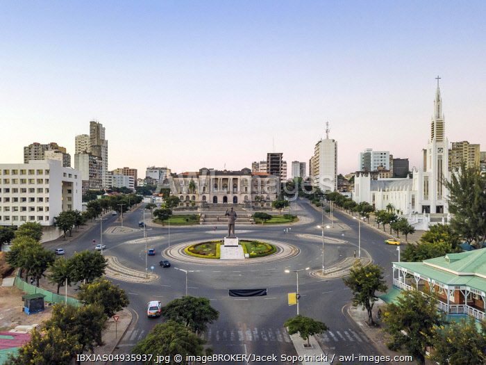 Independence square with City Hall and main Cathedral, downtown of Maputo, Mozambique, Africa