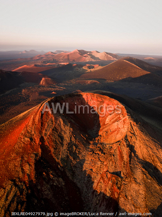 Sunrise Volcano Crater, Fire Mountains, Crater Landscape, Timanfaya National Park, drone shot, Lanzarote, Spain, Europe