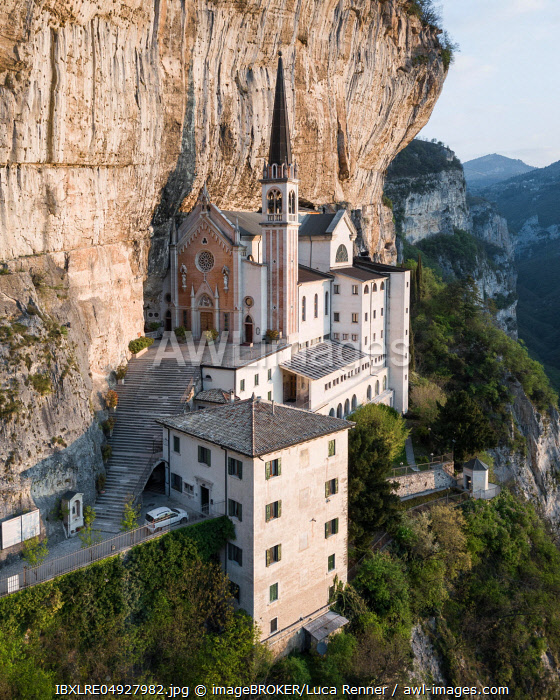 Mountain church Madonna della Corona, aerial view, Lake Garda, Italy, Europe