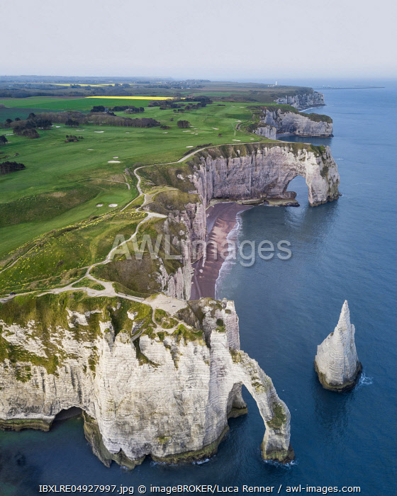 Cliffs of Etretat, aerial view, Normandy, France, Europe