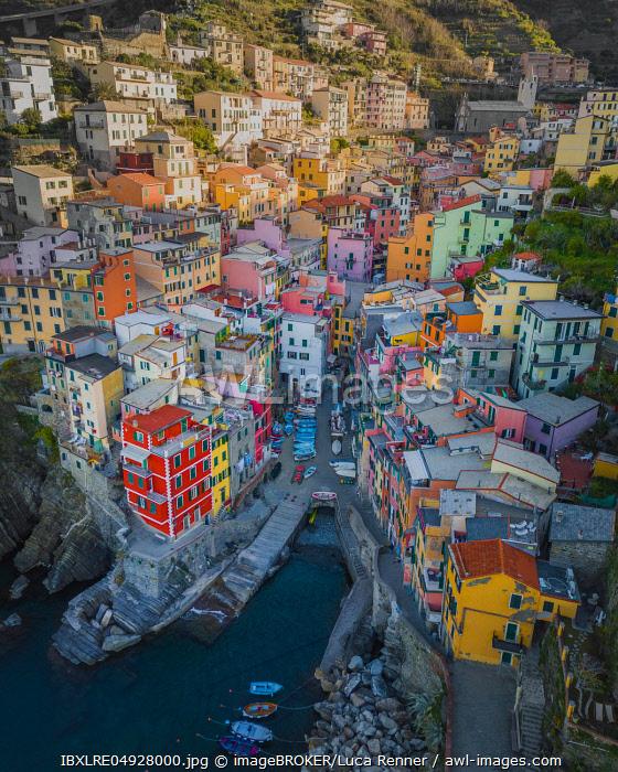 Aerial view of Riomaggiore, harbour, Cinque Terre, Italy, Europe