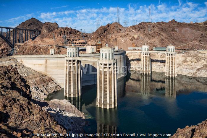 Hoover Dam, Hoover Dam, Dam, Lake Mead, Lake Mead Recreation Area, Arizona, Nevada, USA, North America