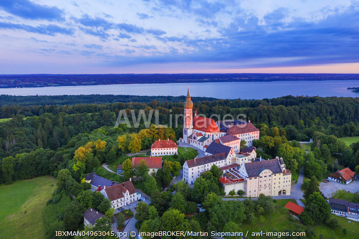 Andechs Monastery, aerial view at sunrise, Lake Ammer at the back, Funfseenland, Pfaffenwinkel, Upper Bavaria, Bavaria, Germany, Europe