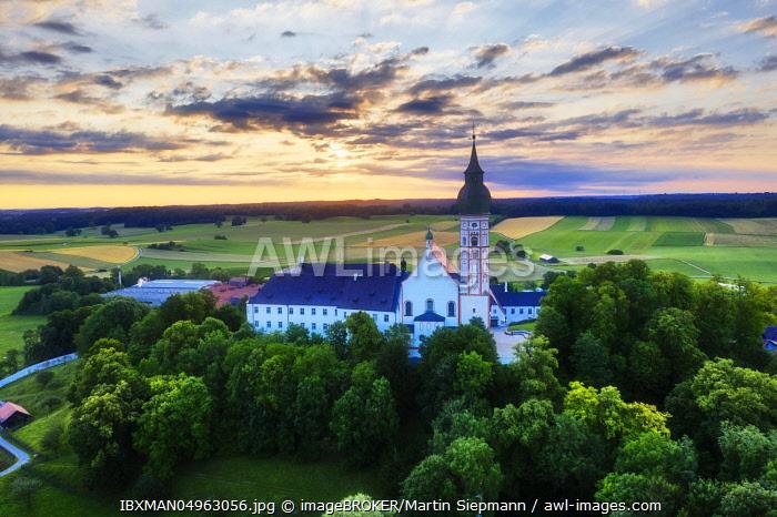 Andechs Monastery, aerial view at sunrise, five lakes, Pfaffenwinkel, Upper Bavaria, Bavaria, Germany, Europe