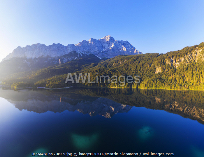 Eibsee lake with Wetterstein range and Zugspitze, near Grainau, Werdenfelser Land, aerial view, Upper Bavaria, Bavaria, Germany, Europe