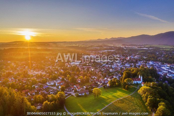 Bad Tolz with Calvary at sunrise, Isarwinkel, aerial view, Upper Bavaria, Bavaria, Germany, Europe