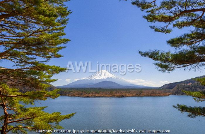 View over a lake to the volcano Mt Fuji, Motosu Lake, Yamanashi Prefecture, Japan, Asia