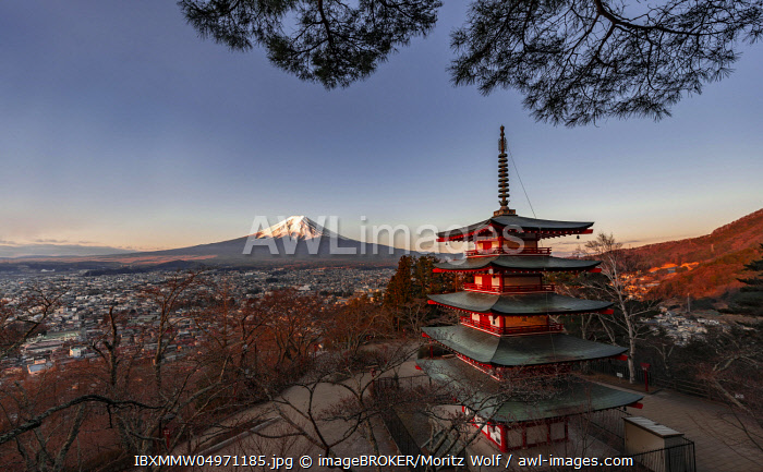 Five-story pagoda, Chureito Pagoda, with views over Fujiyoshida City and Mount Fuji volcano at sunset, Yamanashi Prefecture, Japan, Asia