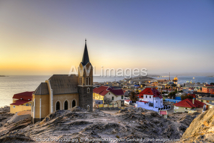 Evening atmosphere above the rock church and the city of Luderitz, Namibia, Africa