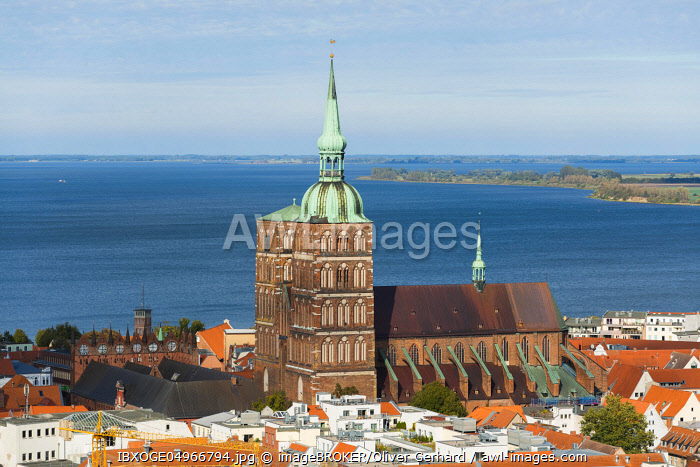 Nikolaikirche and Old Town, view from the tower of St. Mary's Church, Stralsund, Mecklenburg-Western Pomerania, Germany, Europe