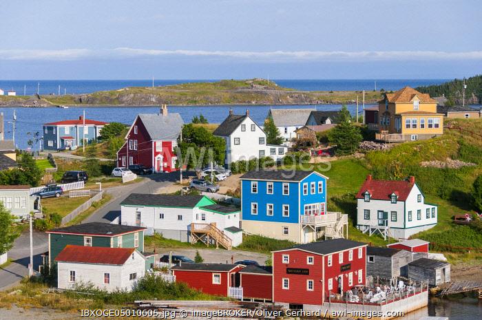 Colorful wooden houses, Trinity, Trinity Bay, Newfoundland and Labrador, Canada, North America