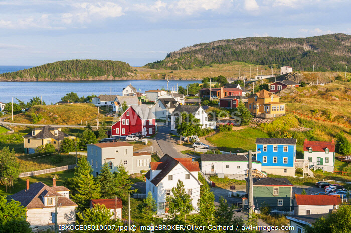 Colorful wooden houses, Trinity, Trinity Bay, Newfoundland and Labrador, Canada, North America