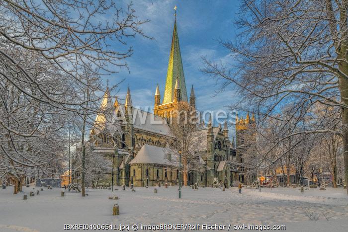 Winter, Cathedral, Nidaros, Trondheim, Norway, Europe