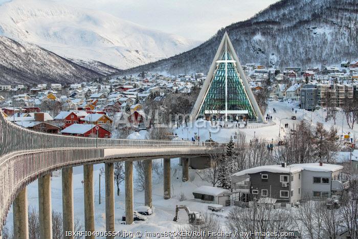 Bridge to the Iceberg Cathedral, Tromso, Norway, Europe