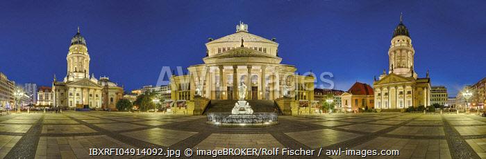 Gendarmenmarkt, illuminated, Panorama, Berlin, Germany, Europe