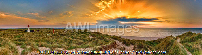 Lighthouse List-West at sunset, elbow, Sylt, North Frisian Island, North Sea, North Frisia, Schleswig-Holstein, Germany, Europe