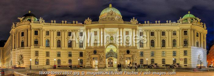 Evening atmosphere, Vienna Hofburg Imperial Palace at Michaelerplatz, Vienna, Austria, Europe