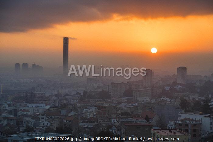 Sunrise over city with minaret of Great Mosque of Algiers, Algeria, Africa